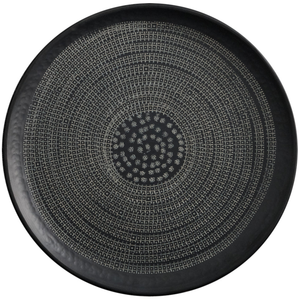 Mahika black aluminium tray with hand-etched intricate pattern, 40.5 cm diameter.