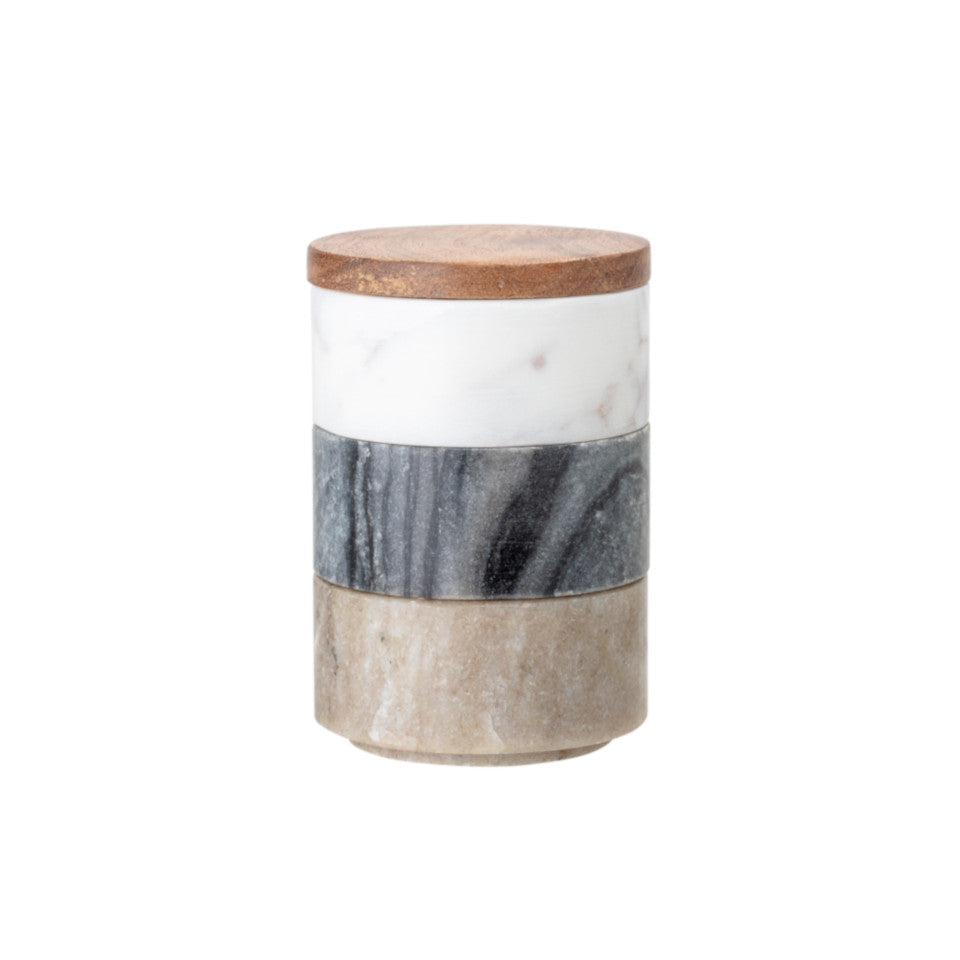 Marble triple jar with white, black and rose marble stackable jars with acacia lid.