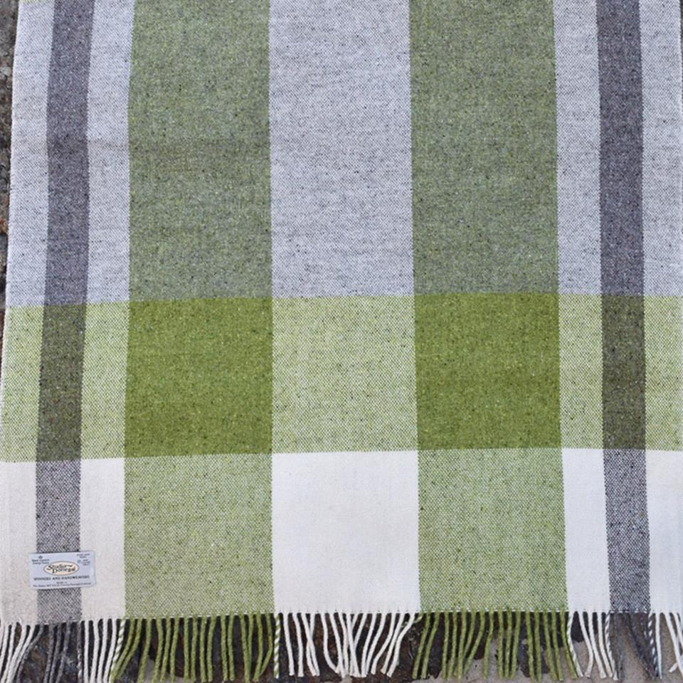 Studio Donegal Mediterranean large wool throw, cream, green and grey check.
