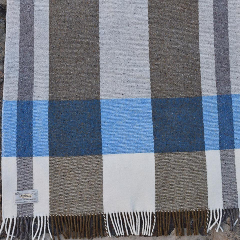 Studio Donegal Mediterranean large wool throw, cream, blue and clay check.