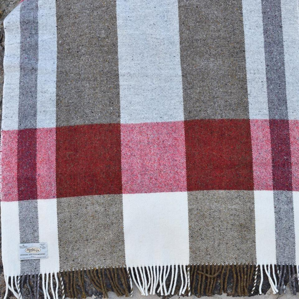 Studio Donegal Mediterranean large wool throw, cream, red and clay check.
