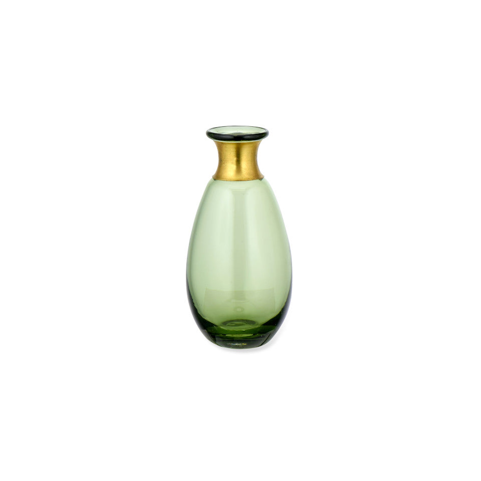 Miza Mini green glass vase with brass collar, tall.