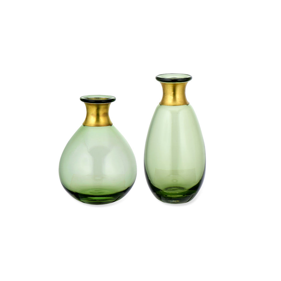 Miza Mini green glass vases with brass collar, l-r: wide-tall.