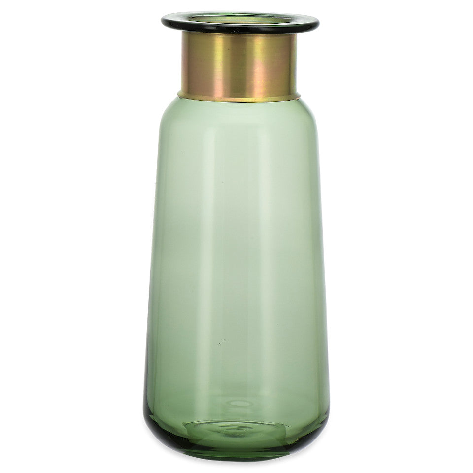 Miza large green glass vase with brass collar.