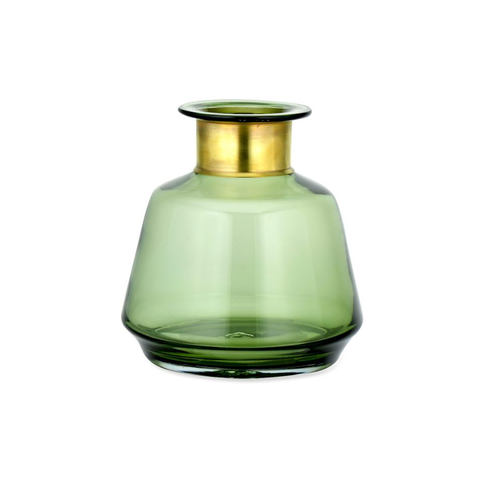 Miza small green glass vase with brass collar.