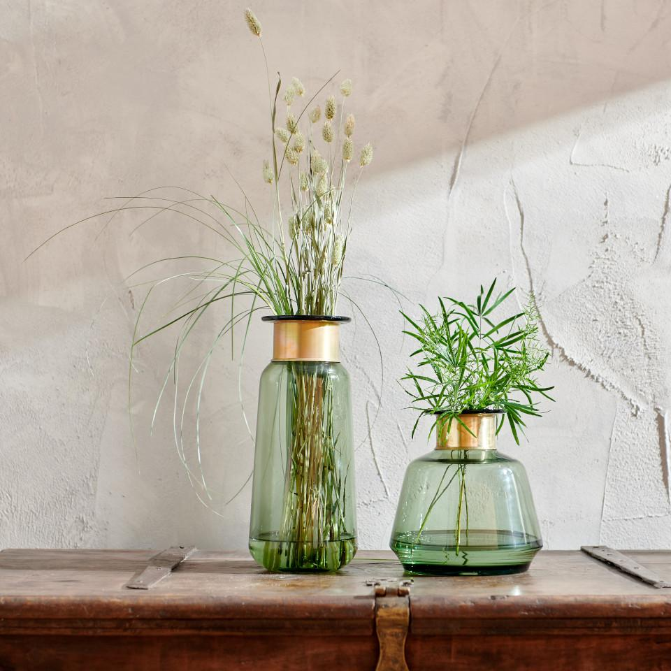 Miza small and large green glass vases with brass collar with foliage.