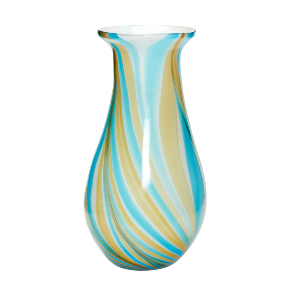 Multi yellow and blue coloured glass tulip vase.