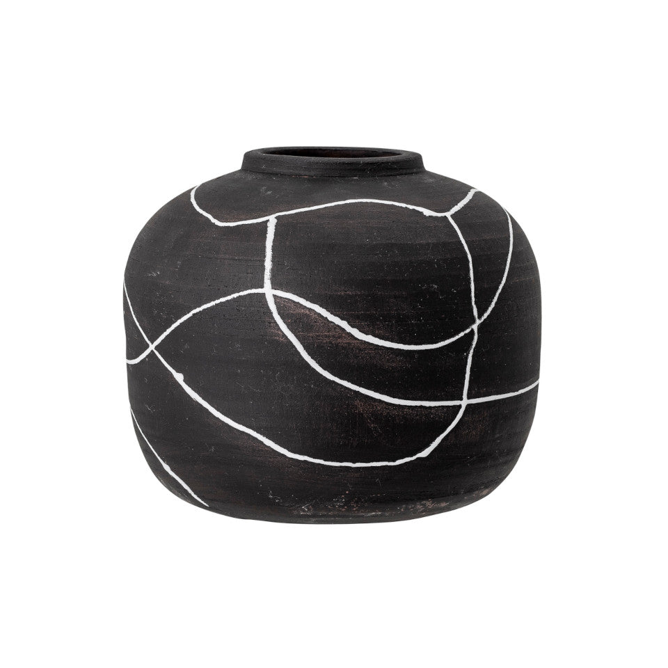 Niza vase, wide, matte black terracotta with gloss white line pattern.