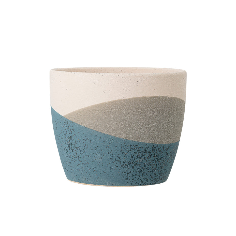 Nkosi flowerpot, terracotta with blue/grey/white speckled glaze.