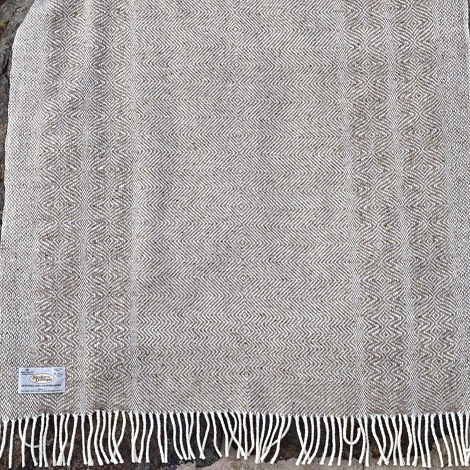 Studio Donegal undulating twill large wool throw, oatmeal.