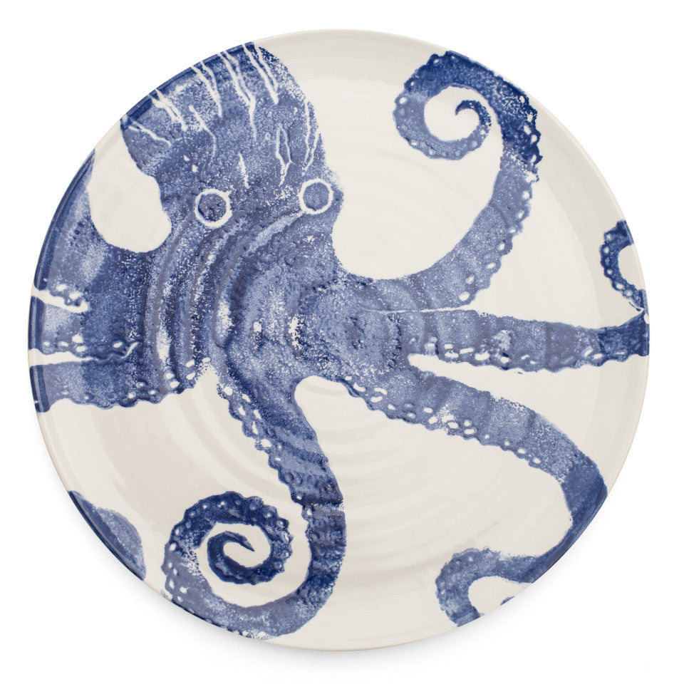 Sea Creatures earthenware Octopus platter, 36.5 cm.