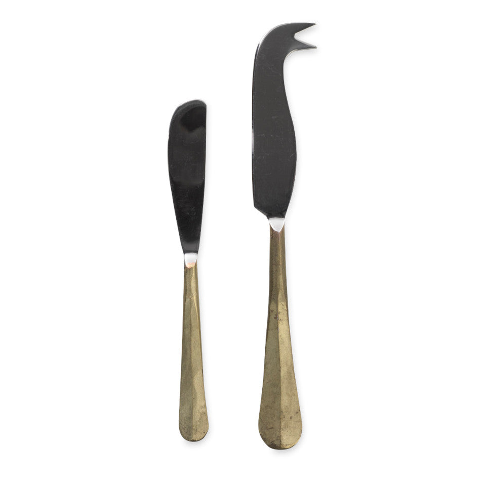 Osko brushed gold cheese and butter knife set.
