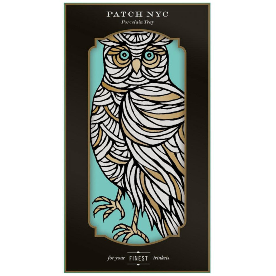 Owl by Patch NYC porcelain trinket tray, boxed.