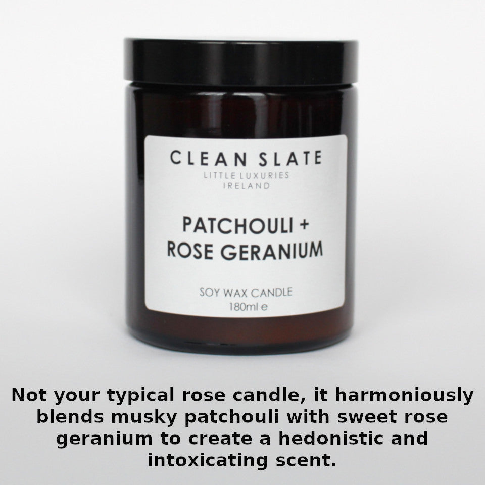 Clean Slate patchouli and rose geranium scented candle in apothecary-style jar, with aroma notes.