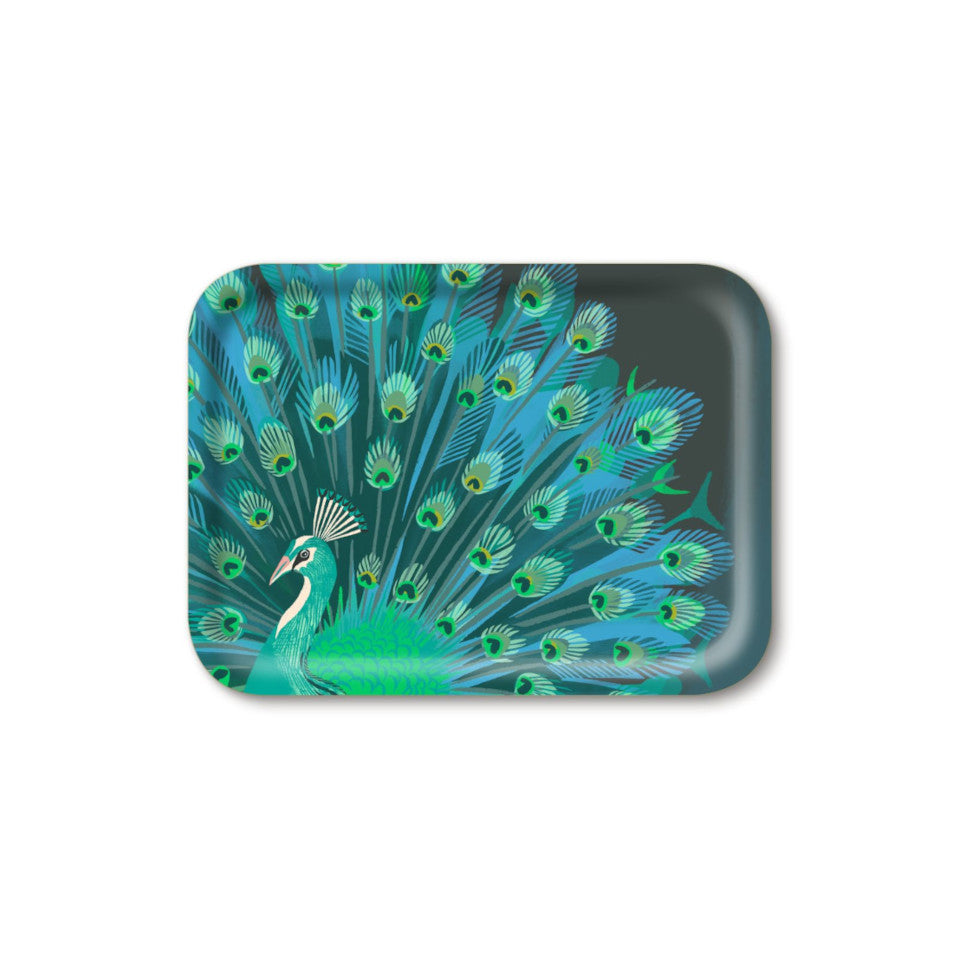 Peacock by Asta Barrington, peacock in full tail-feather on indigo background, 27x20 cm small rectangular tray.