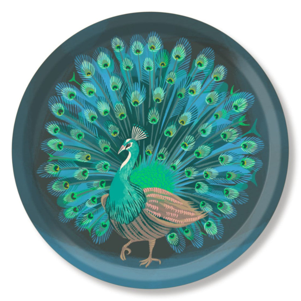 Peacock by Asta Barrington, peacock in full tail-feather on indigo background, 39cm round tray.
