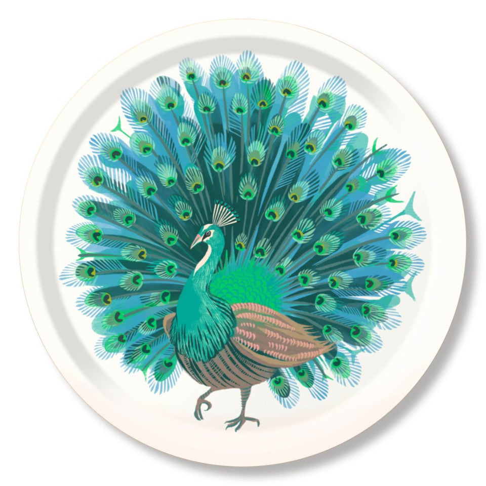 Peacock by Asta Barrington, peacock in full tail-feather on white background, 39cm round tray.