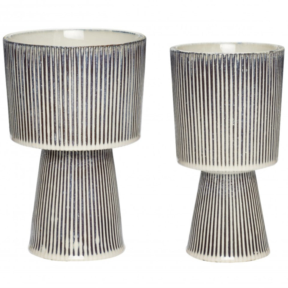 Pedestal palnt pot with black and white pinstripe glaze, l-r: large and small.