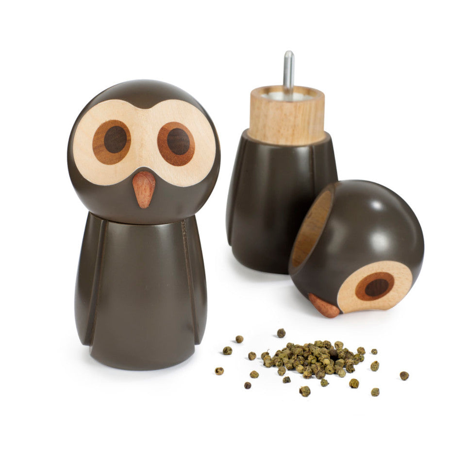 Pepper grinder owl styled with a separated owl and pepper corns.