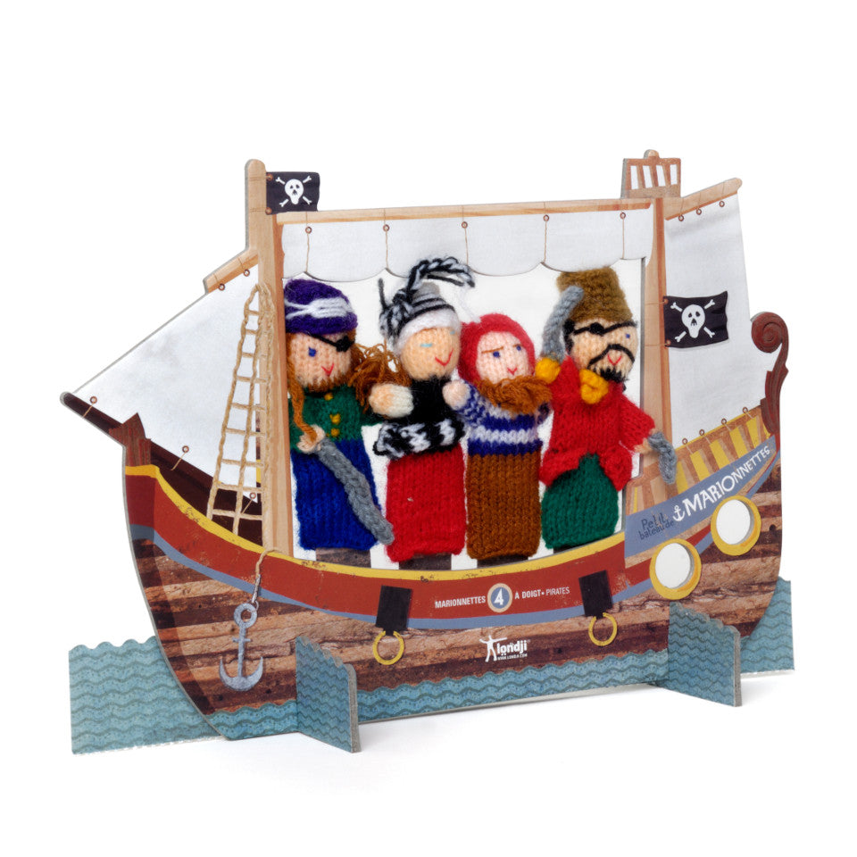 Pirates wool finger puppet and cardboard theatre.