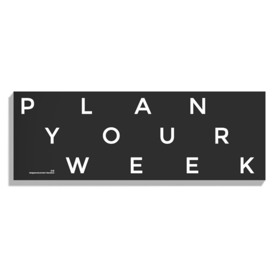 Plan Your Week oblong perpetual desk planner, ,black cover.