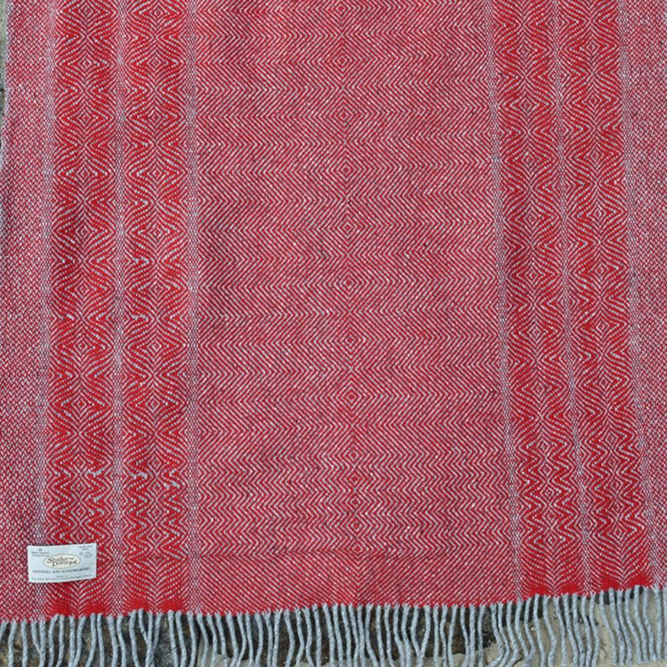 Studio Donegal undulating twill large wool throw, poppy.
