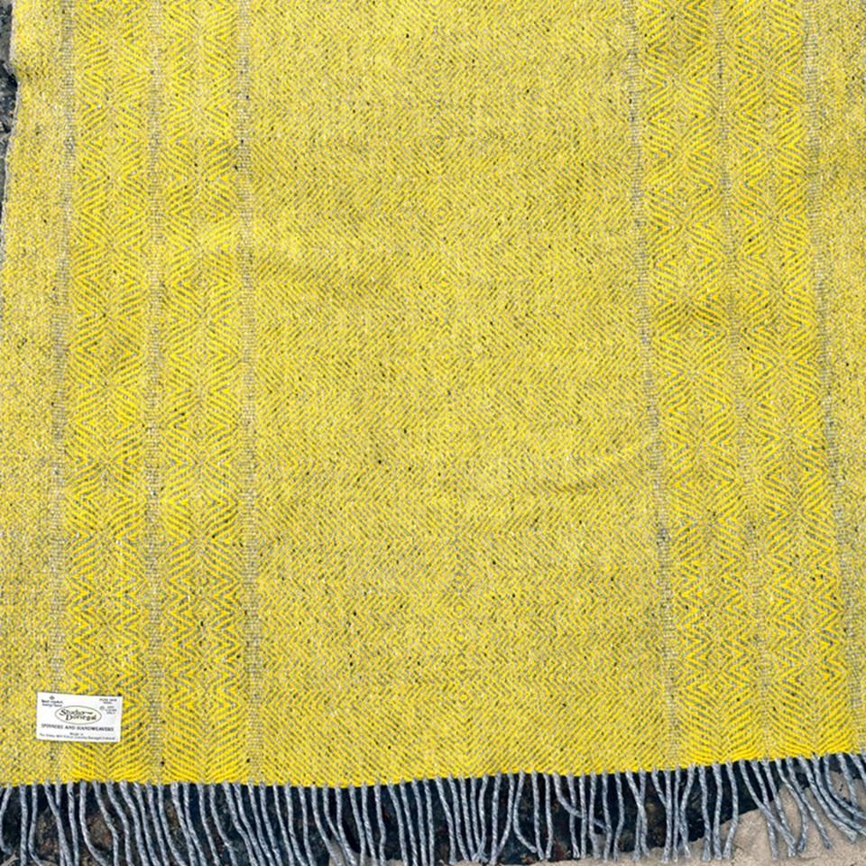 Studio Donegal undulating twill large wool throw, primrose.