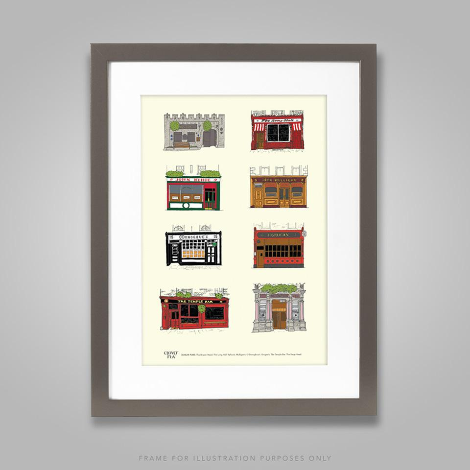 Dublin pubs A4 print, framed with 30 cm x 40 cm mount in black 30cm x 40 cm frame.