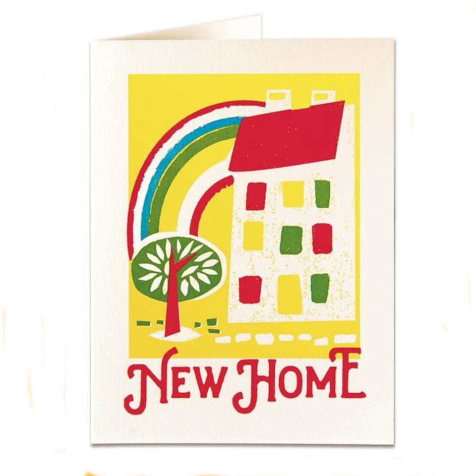 New Home, blank card, rainbow, hose and tree on a yellow background, with white envelope.