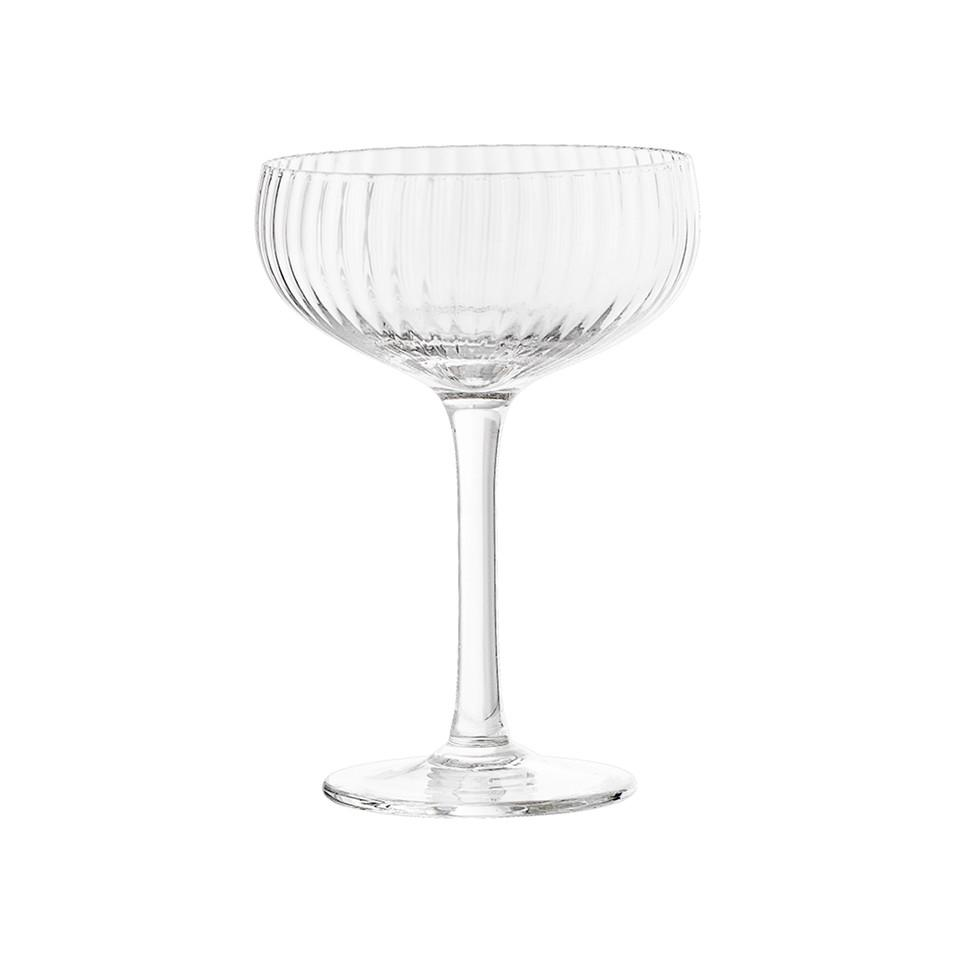 Ribbed glass champagne coupe.