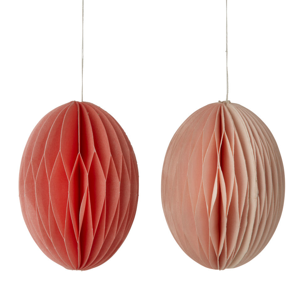 Rose (2 shades of pink) swirl Easter medium eggs, set of 2 paper honeycomb hanging decorations.