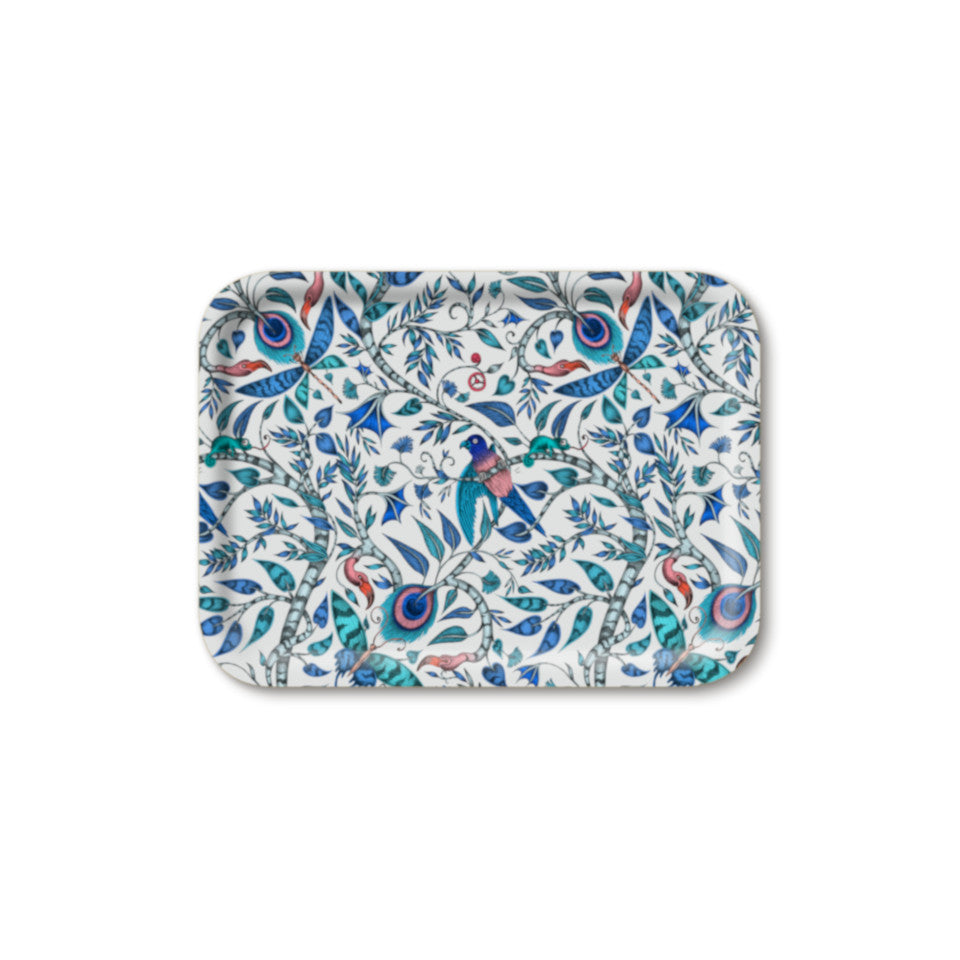 Rousseau by Emma J. Shipley blue small rectangular tray, 27 x 20 cm.