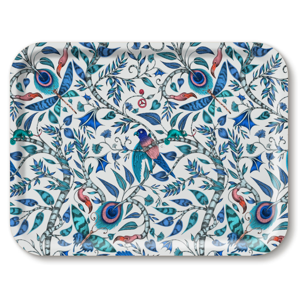 Rousseau by Emma J. Shipley blue large rectangular tray, 43 x 33 cm.