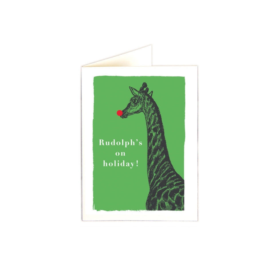 Rudolph's on holiday! giraffe with red nose on green background mini Christmas card, pack of 5.