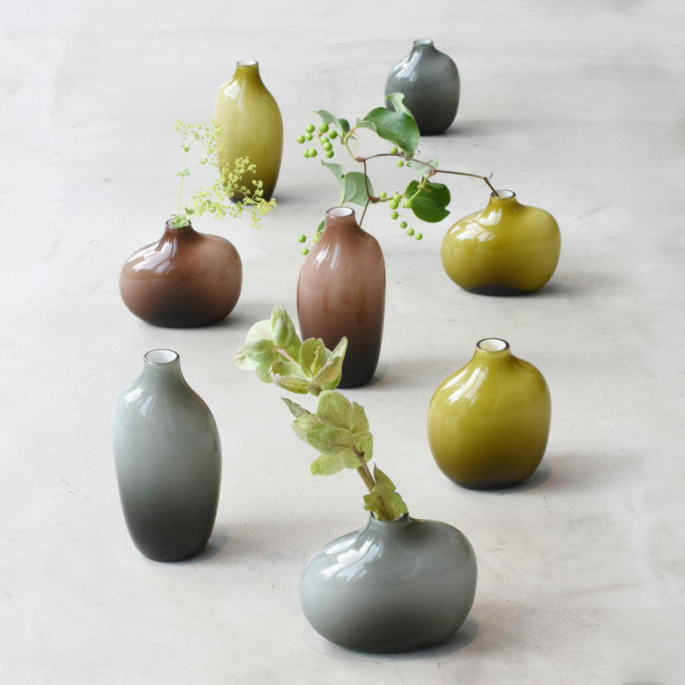 Sacco green glass vases (3 sizes) with grey glass vases (3 sizes) and brown glass large and small vases.