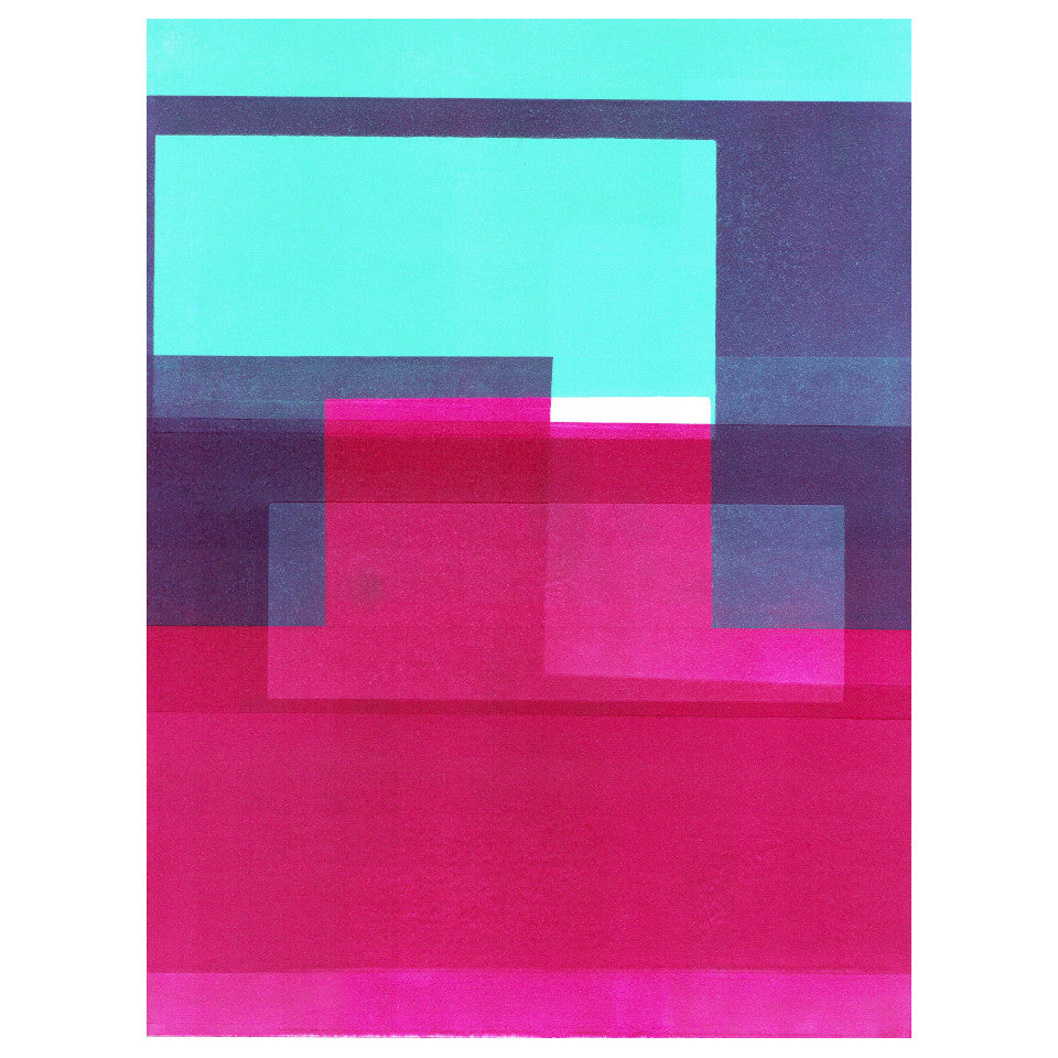 Scale A I A3 fuschia, turquoise and blue abstract print by Herald Black.