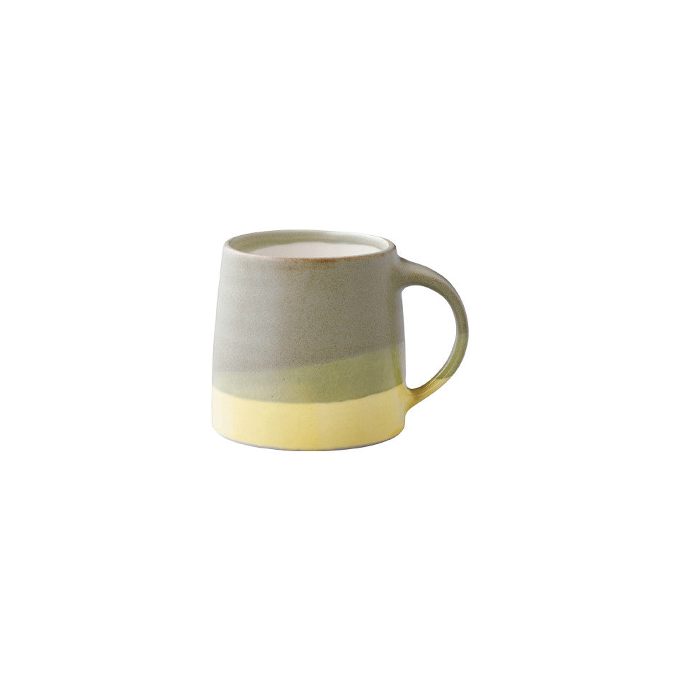 SCS (Slow Coffee Style) S03 moss green / yellow porcelain coffee mug.