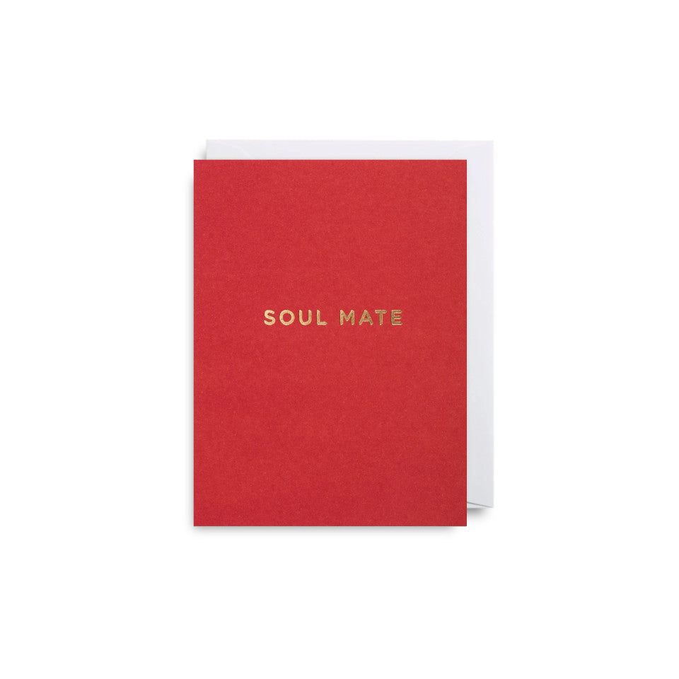 Soul Mate, blank Valentine card, gold lettering on a red background, with white envelope.
