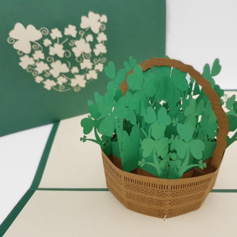 St. Patrick's Day shamrock basket blank pop up greetings card.