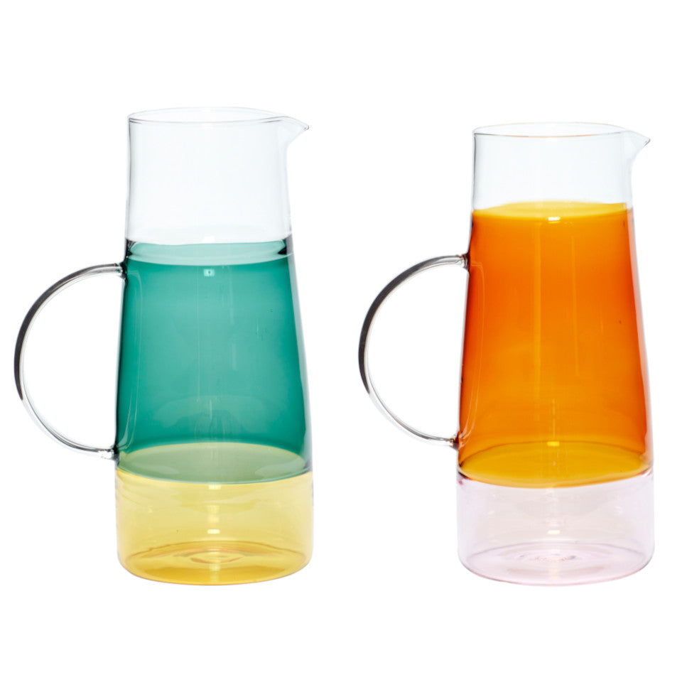 Stripe glass jug l-r: clear/green/yellow and clear/amber/pink.