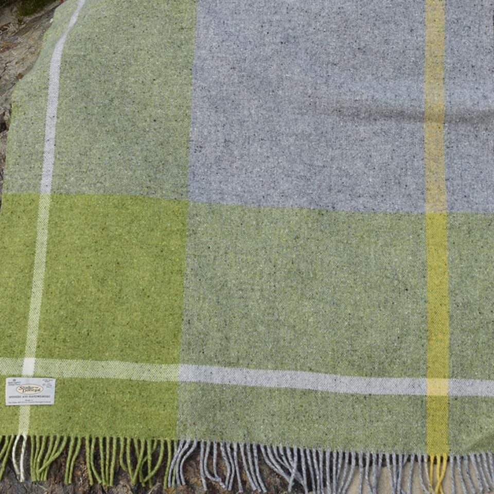 Donegal Days by Studio Donegal, Summer small wool throw, yellow, green and grey check.