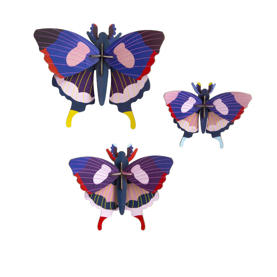 Swallowtail butterfly wall decoration, set of 3.