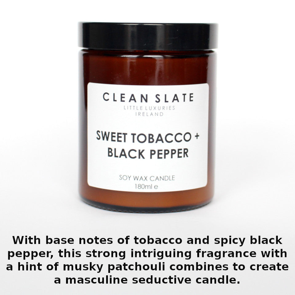 Clean Slate sweet tobacco and black pepper scented candle in apothecary-style jar, with aroma notes.
