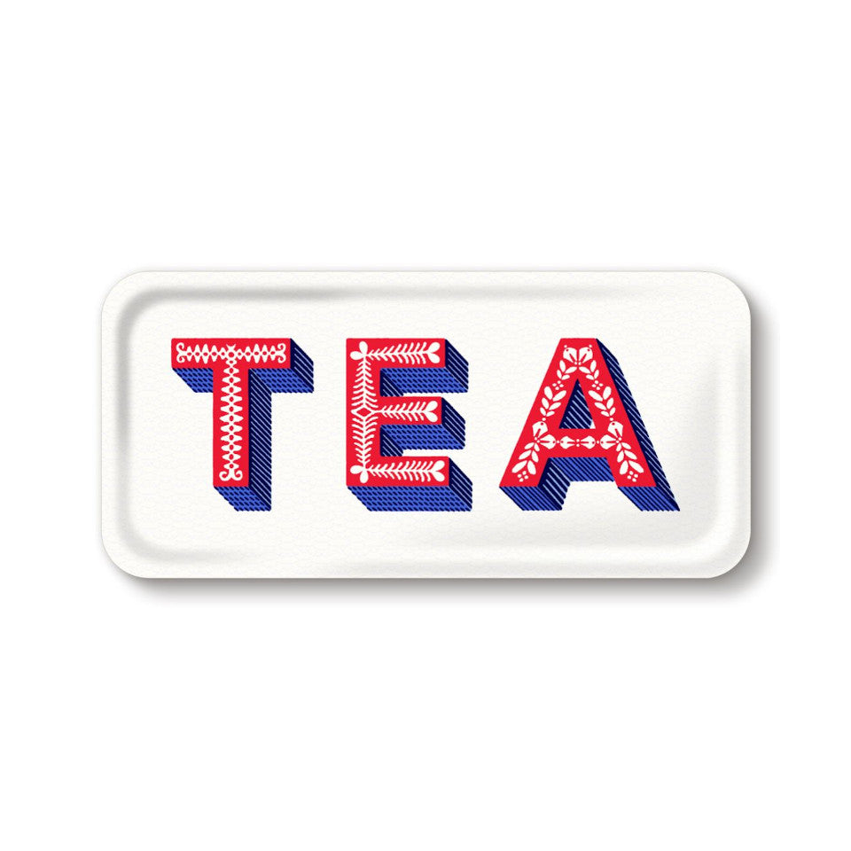 TEA by Asta Barrington, word 'tea' in red letters, on white background oblong tray, 32 cm x 15 cm.