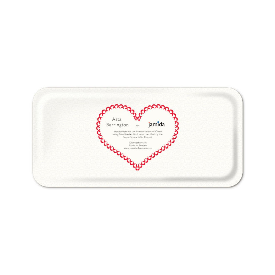 TEA by Asta Barrington white oblong tray back, 32 cm x 15 cm.