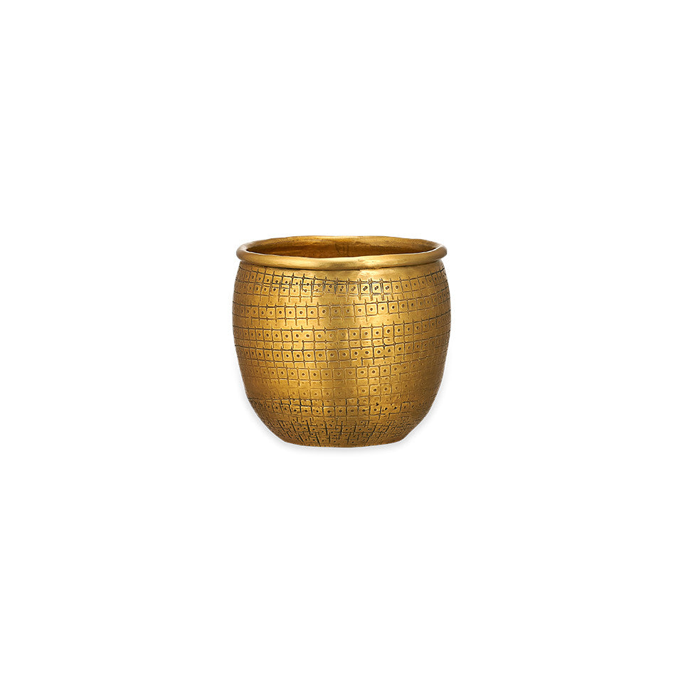 Tembesi mini etched exterior brass planter.