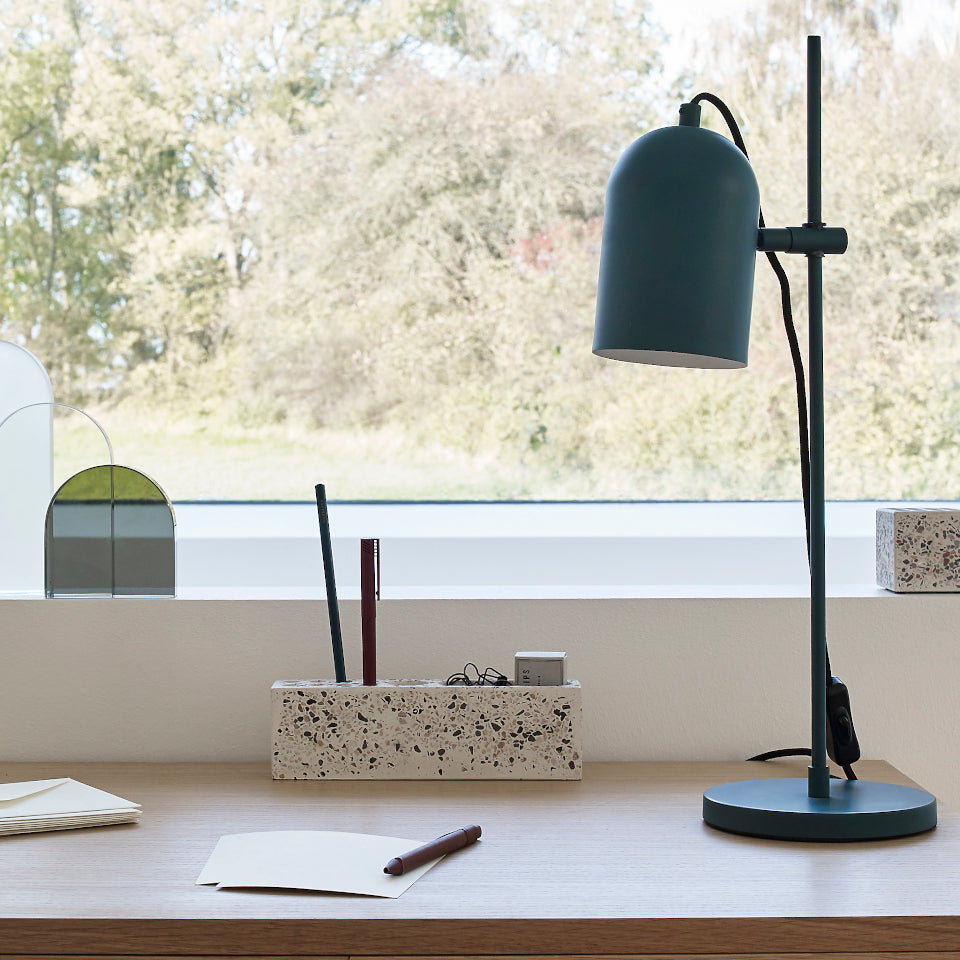 Terrazzo desk organiser, styled on desk.