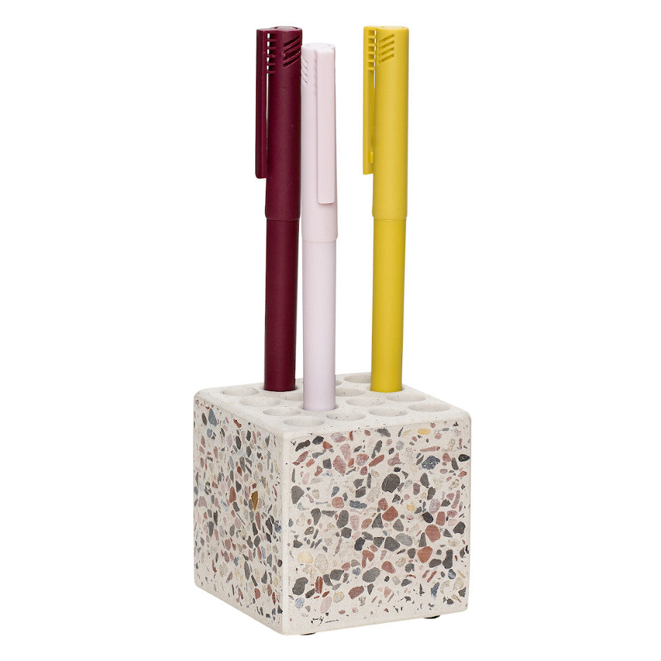 Terrazzo pen holder, styled.