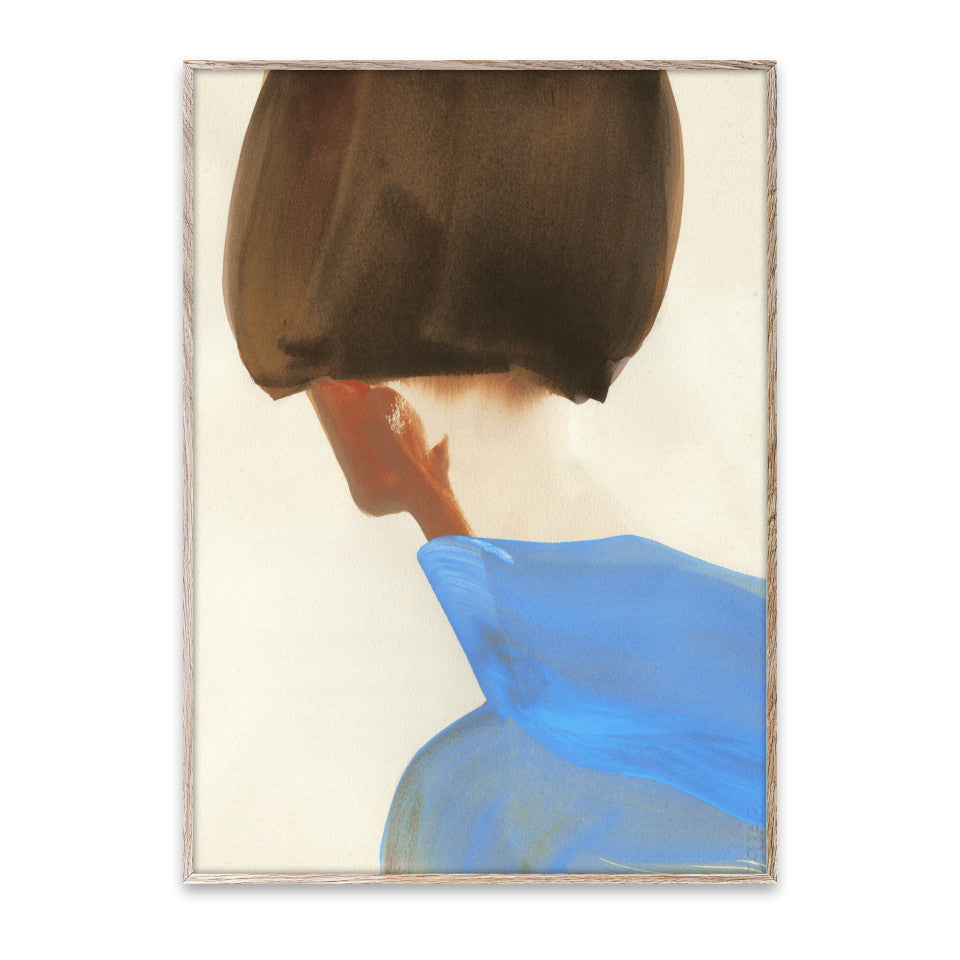 The Blue Cape 30 x 40 cm unframed print, shoulders, neck and bobbed hair of the subject wearing a blue cape.