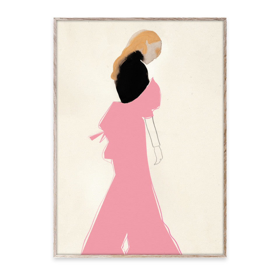 The Pink Dress, 30 x 40 cm unframed print, subject in a pink gown with black torso.